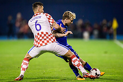 Dejan Lovren of Croatia and Kostas Stafylidis of Greece during the football match between National teams of Croatia and Greece in First leg of Playoff Round of European Qualifiers for the FIFA World Cup Russia 2018, on November 9, 2017 in Stadion Maksimir, Zagreb, Croatia. Photo by Ziga Zupan / Sportida