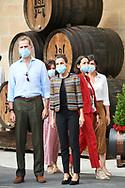King Felipe VI of Spain, Queen Letizia of Spain visit Lopez de Heredia Winery at  on July 10, 2020 in Haro, Spain