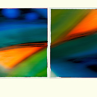 Painting in Twos, Orange and Blue Abstract