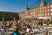 SPAIN, MADRID, MONUMENTS Plaza Mayor; cafes, tapa bars