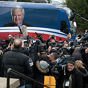 GOP Presidential candidate Newt Gingrich arrives at a polling station on Tuesday, Jan. 10, 2012 in Manchester, NH.