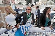2013/03/23 Roma, manifestazione del PDL Popolo della Liberta'. Nella foto domenico Scilipoti distribuisce gadgets.<br /> Rome, Popolo della Liberta' (reading The Peolple of Freedom Party) demo. In the picture  Domenico Scilipoti distributes gadgets- &copy; PIERPAOLO SCAVUZZO