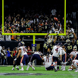 Oct 29, 2017; New Orleans, LA, USA; Chicago Bears place kicker Connor Barth (4) misses a field goal against the New Orleans Saints during the first half of a game at the Mercedes-Benz Superdome. Mandatory Credit: Derick E. Hingle-USA TODAY Sports