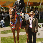 Corinne Ashton (USA) on Dobbin with presenting sponsor Holly Matt of Pegasus Design Group at the 2007 Wellpride American Eventing Championships in Wayne, IL