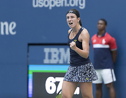 September 5, 2017 - New York, New York, United States - Anastasija Sevastova of Latvia reacts during match against Sloane Stephens of USA at US Open Championships at Billie Jean King National Tennis Center  (Credit Image: © Lev Radin/Pacific Press via ZUMA Wire)