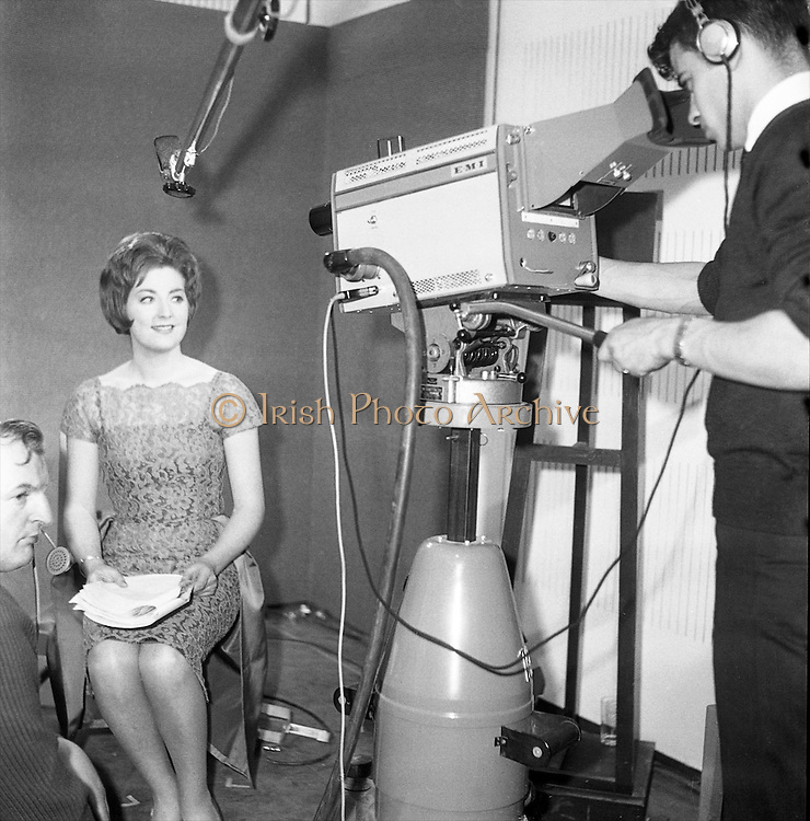 Kathleen Watkins waits for the cameras to roll on the opening night. Montrose. Marie O'Sullivan, Nuala Donnelly and Kathleen Watkins were the first women to appear on Telefís Éireann. .31.12.1961