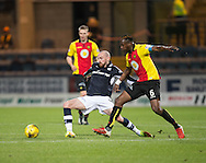 Dundee&rsquo;s James Vincent and Partick Thistle's Abdul Osman - Dundee v Partick Thistle in the Ladbrokes Scottish Premiership at Dens Park, Dundee.Photo: David Young<br /> <br />  - &copy; David Young - www.davidyoungphoto.co.uk - email: davidyoungphoto@gmail.com
