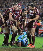 GREG INGLIS - QUEENSLAND MAROONS - STATE ORIGIN GAME 2 - 26TH JUNE 2013. Action from the 2013 NRL State of Origin Rugby League Game 2 between the Queensland Maroons v NSW Blues played at Suncorp Stadium, Brisbane Australia. This image is for Editorial Use Only. Any further use or individual sale of the image must be cleared by application to the Manager Queensland Rugby League Commercial Department. PHOTO : SMP IMAGES