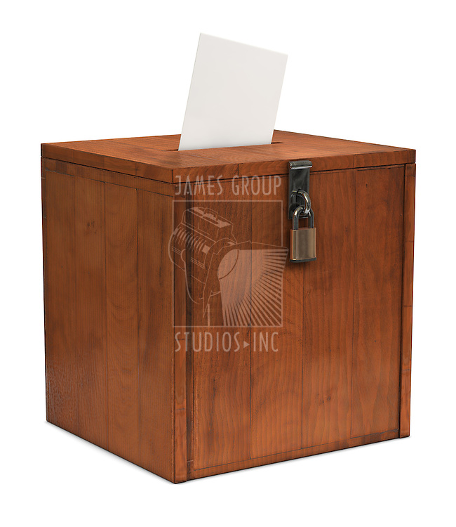 An envelope going in the slot of a ballot box
