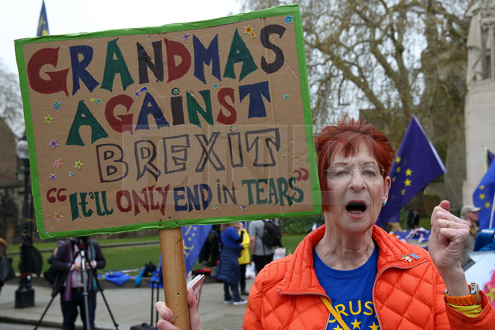 © Licensed to London News Pictures. 08/04/2019. London, UK. An anti-Brexit campaigner protesting outside the Houses of Parliament. British Prime Minister, Theresa May will travel to Berlin and Paris on Tuesday, 9 April to meet with Chancellor of Germany - Angela Merkel and President of the French - Emmanuel Macron ahead of a crunch Brexit summit in Brussels on Wednesday, 10 April.<br /> Photo credit: Dinendra Haria/LNP