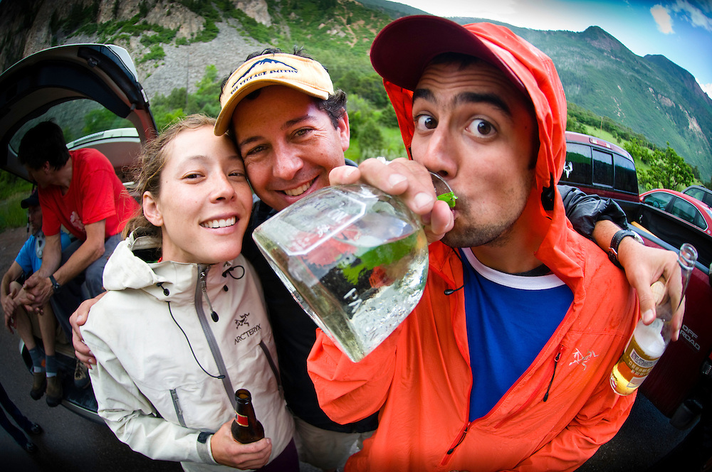 "Lauren Lee, David Clifford, and Andrew Bisharat enjoying some road-side beverages during the 2009 Rock and Ice ""Photo Camp.""  Redstone, CO."