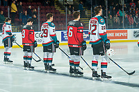 KELOWNA, CANADA - JANUARY 17: Carsen Twarynski #18, Dillon Dube #19, Nolan Foote #29, Cal Foote #25 and Braydyn Chizen #22 of the Kelowna Rockets line up against the Lethbridge Hurricanes on January 17, 2018 at Prospera Place in Kelowna, British Columbia, Canada.  (Photo by Marissa Baecker/Shoot the Breeze)  *** Local Caption ***