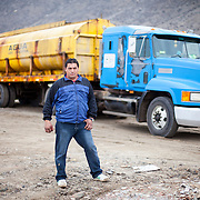 A water truck driver in the Atacama desert in Northern Chile. Water is so scarce and so many rivers are dry that it is carried around in special trucks.