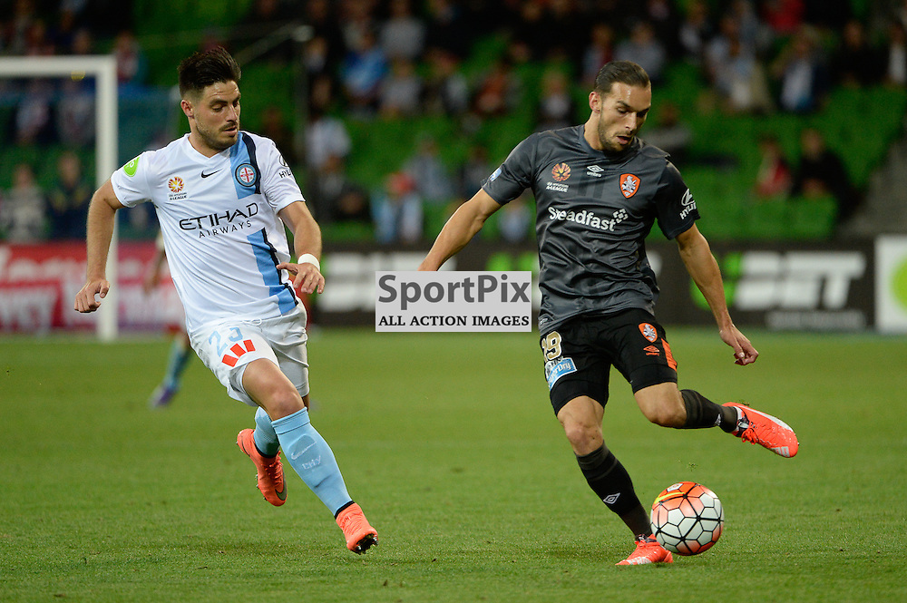 Bruno Fornaroli of Melbourne City,  Jack Hingert of Brisbane Roar FC - Hyundai A-League, March 18th 2016, ROUND 24 - Melbourne City FC v Brisbane Roar FC in a 3:1 win to City after a slow first half at Aami Park, Melbourne Australia. © Mark Avellino | SportPix.org.uk