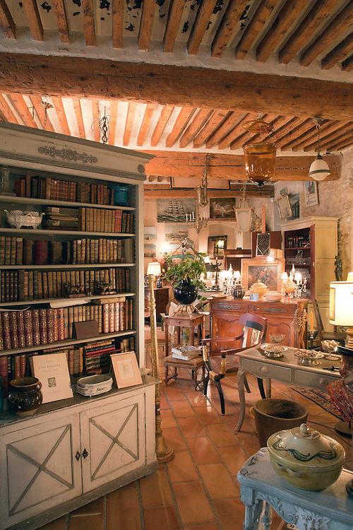 Interior of Pierre Laudoueneix Antiquites, the first shop inside the l'hotel Dongier in L'Isle -sur-la-Sorgue, Provence, France.  Known for its twice a week markets and numerous antique and design shops, this busy market town is a must stop for antique lovers touring southern France.