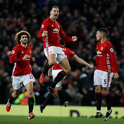 Jan 15, 2017 - Manchester, England, United Kingdom - Manchester United's ZLATAN IBRAHIMOVIC celebrates scoring their first goal against Liverpool during Premier League action at Old Trafford. (Credit Image: © Phil Noble/Action Images via ZUMA Press)