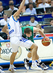 Nikolaos Zisis of Greece vs Samo Udrih (6) of Slovenia during the EuroBasket 2009 3rd place match between Slovenia and Greece, on September 20, 2009, in Arena Spodek, Katowice, Poland.   (Photo by Vid Ponikvar / Sportida)
