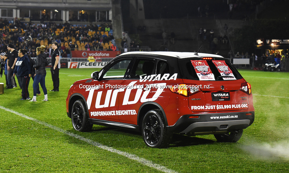 Suzuki sponsorship activation at half time.<br /> Vodafone Warriors v South Sydney Rabbitohs. NRL Rugby League. Mt Smart Stadium, Auckland, New Zealand. Saturday 13 August 2016. &copy; Copyright Photo: Andrew Cornaga / www.Photosport.nz