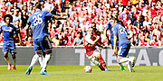 Aaron Ramsey looking to break through during the FA Community Shield match between Chelsea and Arsenal at Wembley Stadium, London, England on 2 August 2015. Photo by Michael Hulf.
