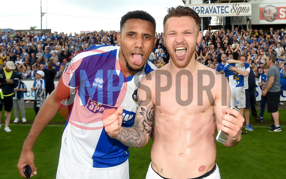 Matt Taylor of Bristol Rovers and Cristian Montano of Bristol Rovers celebrate promotion  - Mandatory by-line: Joe Meredith/JMP - 07/05/2016 - FOOTBALL - Memorial Stadium - Bristol, England - Bristol Rovers v Dagenham and Redbridge - Sky Bet League Two