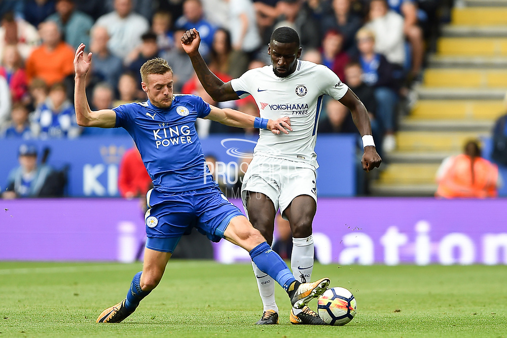 Leicester City forward Jamie Vardy (9) makes a tackle against Chelsea defender Antonio Rudiger (2) during the Premier League match between Leicester City and Chelsea at the King Power Stadium, Leicester, England on 9 September 2017. Photo by Jon Hobley.