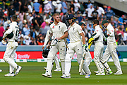 Ben Stokes of England and Jos Buttler of England walk off the field for lunch during the International Test Match 2019 match between England and Australia at Lord's Cricket Ground, St John's Wood, United Kingdom on 18 August 2019.