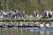 Henley, GREAT BRITAIN,  Oxford OSIRIS passing Upper Thames on they way to victory in the Women's reserves race, at the 2012 Henley Boat Races, left,  Henley on Thames, England, Sunday  25/03/2012. [Mandatory Credit, Peter Spurrier/Intersport-images