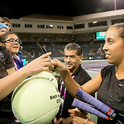 March 7, 2015, Indian Wells, California:<br /> Madison Keys signs autographs during the McEnroe Challenge for Charity presented by Masimo in Stadium 2 at the Indian Wells Tennis Garden in Indian Wells, California Saturday, March 7, 2015.<br /> (Photo by Billie Weiss/BNP Paribas Open)