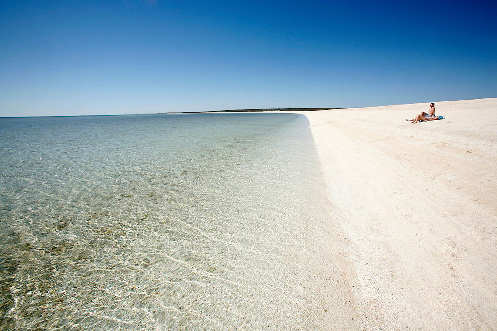 Coral Beach in Shark Bay Unesco World heritage area. This beach is made of shells and coral.