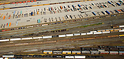Aerial view of railway and container truck yard