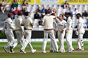 Wicket - Roelof van der Merwe of Somerset celebrates taking the wicket of Ravi Bopara of Essex during the Specsavers County Champ Div 1 match between Somerset County Cricket Club and Essex County Cricket Club at the Cooper Associates County Ground, Taunton, United Kingdom on 26 September 2019.