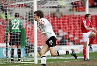 Photo: Paul Thomas. Nottingham Forest v Derby County. Forest Ground, Nottingham. Coca Cola Championship. 26/02/2005. Grzegorz Rasiak scores for Derby.