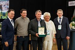 Delabie Stefaan, breeder Halifax van het Kluizenbos, Mrs Delabie, De Luca Lorenzo, Pedersen Jan, Joël Aeschlimann<br /> WBFSH prize giving<br /> CHI de Genève 2017<br /> © Hippo Foto - Dirk Caremans<br /> 09/12/2017