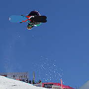 Lucien Koch, Switzerland, in action during the Men's Half Pipe competition at the Burton New Zealand Open 2011 held at Cardrona Alpine Resort, Wanaka, New Zealand, 9th August 2011. Photo Tim Clayton