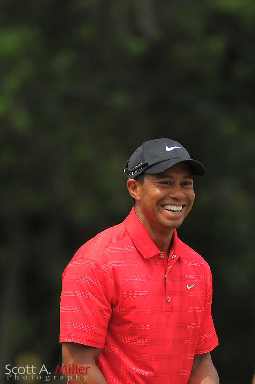 Tiger Woods laughs during the final round of the Players Championship at the TPC Sawgrass on May 13, 2012 in Ponte Vedra, Fla. ..©2012 Scott A. Miller..