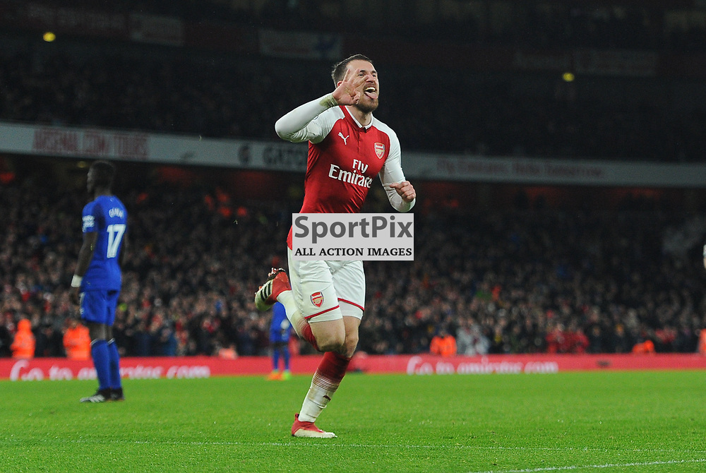 Aaron Ramsey of Arsenal celebrates scoring his sides fifth goal and completing his hatrick during Arsenal vs Everton, Premier League, 03.02.18 (c) Harriet Lander | SportPix.org.uk