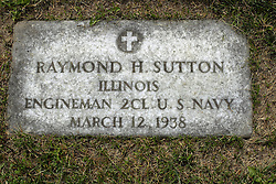 31 August 2017:   Veterans graves in Park Hill Cemetery in eastern McLean County.<br /> <br /> Raymond H Sutton Illinois Engineman 2CL US Navy  March 12 1938