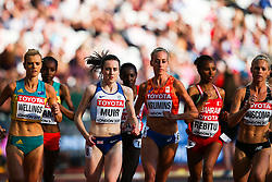 London, August 10 2017 . Laura Muir, Great Britain, Eloise Wellings, Australia, Susan Krumins, Netherlands, Bontu Rebitu, Bahrain, Camille Buscomb, New Zealand, in the women's 5,000m heats on day seven of the IAAF London 2017 world Championships at the London Stadium. © Paul Davey.