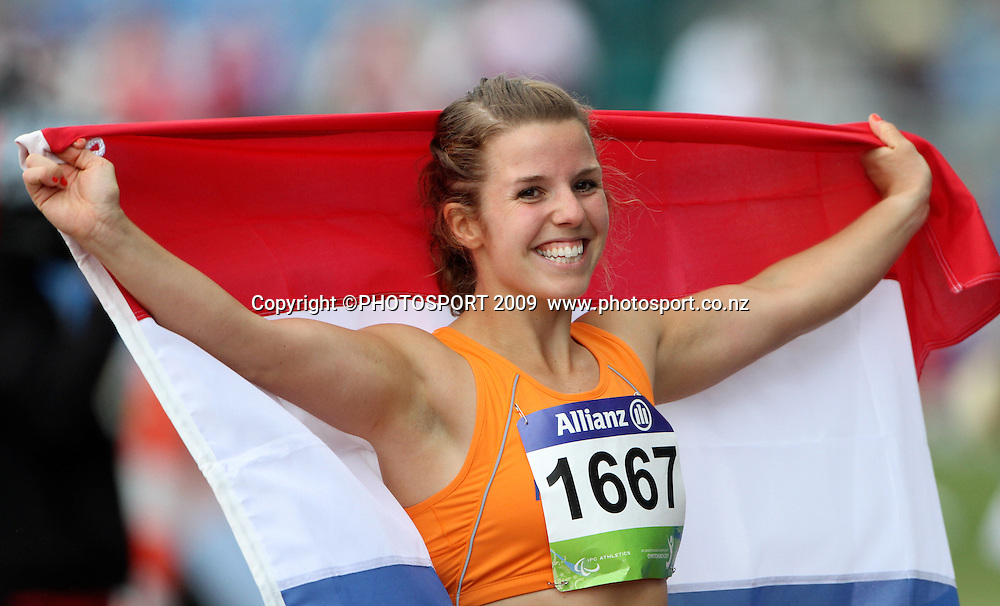 Marjie Smits celebrates her silver medal in the womens long jump F42 final. Day two. IPC Athletics World Championship, 23 January 2011 QE11 Stadium, Christchurch. New Zealand. Photo: John Cowpland / photosport.co.nz