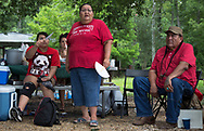 Joyce Braun, from North Dakota, speaking on the openning day at L'eau Est La Vie Camp, in Southern Louisiana.