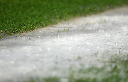 Rain falls on the pitch before Referee Michael Naylor calls off the game - Photo mandatory by-line: Joe Meredith/JMP  - Tel: Mobile:07966 386802 26/12/2012 - Bristol City v Watford - SPORT - FOOTBALL - Championship -  Bristol  - Ashton Gate Stadium -