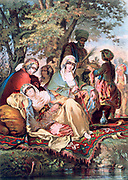 Souvenirs of the East:  Harem', 1857. Oil on canvas. Women of the Harem lounging and smoking under trees by water. Carpet Cushion Veil Langour