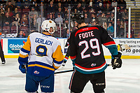 KELOWNA, CANADA - DECEMBER 1:  Max Gerlach #9 of the Saskatoon Blades lines up opposite Nolan Foote #29 of the Kelowna Rockets on December 1, 2018 at Prospera Place in Kelowna, British Columbia, Canada.  (Photo by Marissa Baecker/Shoot the Breeze)