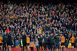 LIVERPOOL, ENGLAND - Saturday, January 28, 2017: Wolverhampton Wanderers supporters celebrate with their players after the 2-1 victory over Liverpool during the FA Cup 4th Round match at Anfield. (Pic by David Rawcliffe/Propaganda)