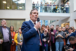 © Licensed to London News Pictures. 09/01/2020. London, UK. Sir Keir Starmer, the frontrunner in the race to become the next Leader of the Labour Party, visits the offices of Unison. Unison has backed Keir Starmer as leader and Angela Rayner as deputy leader. Photo credit: Rob Pinney/LNP
