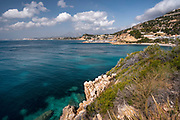Between Altea and Calpe the Mascarat beach area with its turquoise water beaches,Altea,Costa Blanca,Alicante province,Spain