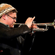 May 14, 2011 - Manhattan, NY : .The O'Farrill Brothers Band, including Adam O'Farrill (trumpet), Livio Almeida (tenor sax - NOT PICTURED) and Adam Kromelow (piano - NOT PICTURED) perform Adam O'Farrill's 'Full Measure' during Symphony Space's Wall to Wall Sonidos concert on Saturday night. .CREDIT: Karsten Moran for The New York Times