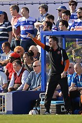 Blackpool's manager Barry Ferguson issues instructions to his team - Photo mandatory by-line: Mitchell Gunn/JMP - Tel: Mobile: 07966 386802 29/03/2014 - SPORT - FOOTBALL - Loftus Road - London - Queens Park Rangers v Blackpool - Championship
