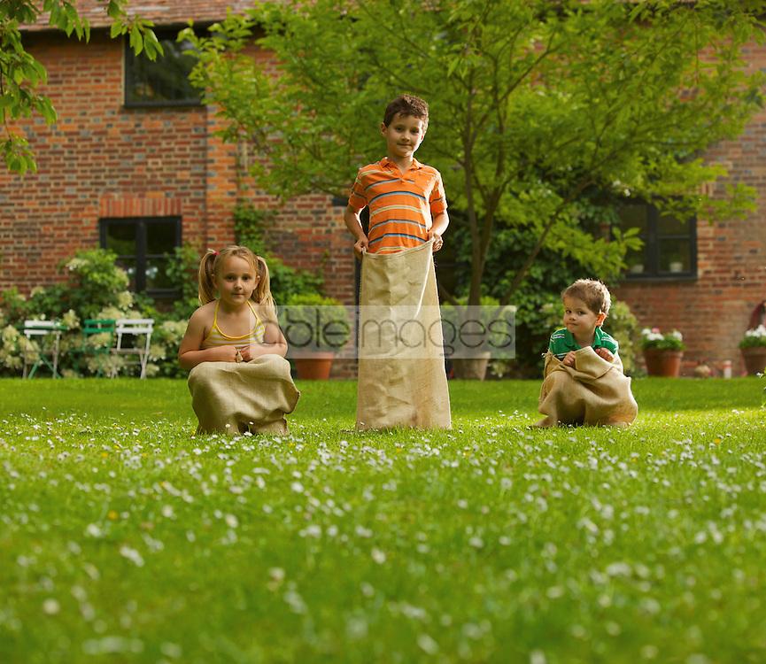 Children Getting Ready for Potato Sack Race