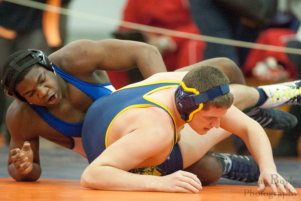 Troy Riley Lindenwold High School vs. Kahlil McCollough-Bey of Williamstown High School during the District 30 Wrestling semifinal match in the 195lb weight class at Overbrook High School on February 18, 2012. (photo / Mat Boyle)